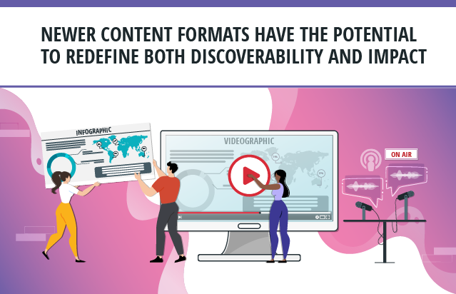 Newer content formats for research have the potential to redefine both discoverability andimpact